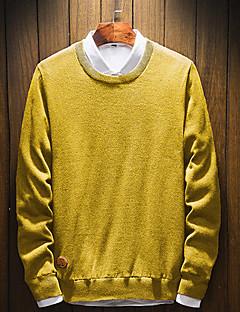 baratos Suéteres & Cardigans Masculinos-Homens Moda de Rua Pulôver - Sólido