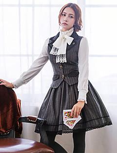billiga Lolitamode-Söt Lolita Casual Lolita Klänning Söt Lolita Prinsess Lolita Ull Dam Kjolar Korsett Cosplay Grå Rand Spetsärmar Långärmad Knälång Kostymer