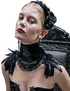 billiga Lolitaaccessoarer-Svart svan Smycken Lolita Accessoarer Halsband Chokerhalsband Halsdukhalsband Vintage Gotiskt Steampunk Alla Svart Mode Fjädrar Vintage Scarf choker Polyster Kostymer