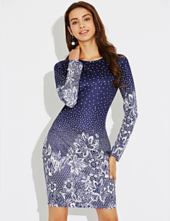 billige Minikjoler-Dame Bukser - Blomstret Blå, Trykt mønster Blå / Fest / Ferie / Tynd