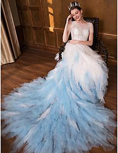 billiga Brudklänningar-Prinsessa Bateau Neck Kapellsläp Spets / Tyll Bröllopsklänningar tillverkade med Spets av LAN TING Express / Vacker i svart