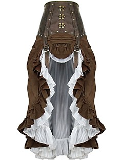 cheap Steampunk-Steampunk Costume Women's Petticoat Rivet Coffee Vintage Cosplay Chiffon Plush Fabric Cotton
