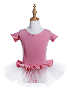 tanie Stroje baletowe-Balet Sukienki Dla dziewczynek Szkolenie / Spektakl Bawełna / Spandeks / Tiul Jak fala / Materiały łączone Krótki rękaw Sukienka