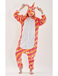 billige Kigurumi-Voksne Enhjørning Anime Onesie-pysjamas polyesterfiber Regnbue Cosplay Til Damer og Herrer Pysjamas med dyremotiv Tegnefilm Festival / høytid kostymer