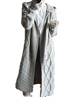 tanie Swetry damskie-Damskie Weekend Solidne kolory Długi rękaw Luźna Długie Sweter rozpinany, Kaptur Czarny / Żółtobrązowy / Szary S / M / L