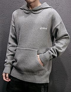 tanie Męskie swetry i swetry rozpinane-Męskie Codzienny Solidne kolory Długi rękaw Regularny Pulower Czarny / Szary / Khaki XL / XXL / XXXL