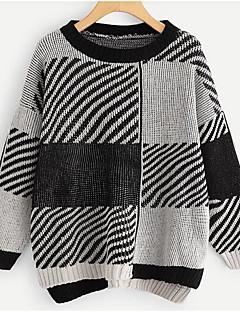 tanie Swetry damskie-damski bawełniany, luźny sweter z długim rękawem - kolorowy blok