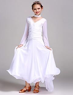 tanie Stroje balowe-Taniec balowy Sukienki Dla dziewczynek Szkolenie / Spektakl Szyfon / Tiul / Włókno mleczne Materiały łączone Długi rękaw Wysoki Sukienka / Dodatki na szyję