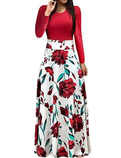 رخيصةأون موضة خريف شتاء 2018-فستان نسائي أنيق طباعة طويل للأرض روز ورد / مناسب للعطلات / مناسب للخارج