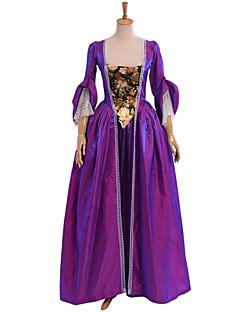 저렴한 인사이더 픽-빅토리안 중세시대 르네상스 코스츔 여성용 드레스 파티 코스튬 가면 빈티지 코스프레 레이스 면 파티 댄스 파티 긴 소매 바닥 길이 긴 길이 볼 드레스 / 플로럴