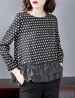 billige T-shirt-Dame - Prikker Patchwork Basale / Gade T-shirt Sort og hvid
