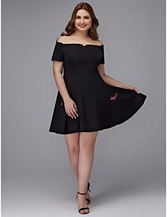 billige Kjoler til spesielle anledninger-A-linje Løse skuldre Kort / mini Elastisk sateng Cocktailfest Kjole med Mønster / trykk av TS Couture®