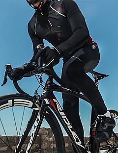 billige Sykkelklær-SANTIC Herre Sykkelbukser Sykkel Bukser Vindtett, Hold Varm Ensfarget Vinter Svart Sykkelklær / Mikroelastisk