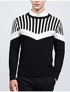 baratos Suéteres & Cardigans Masculinos-pullover slim de manga comprida para homem - color block / striped