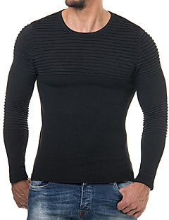 baratos Suéteres & Cardigans Masculinos-Homens Básico / Moda de Rua Pulôver - Sólido / Listrado