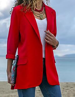 Χαμηλού Κόστους Γυναικεία σπορ σακάκια και μπουφάν-Γυναικεία Δουλειά Κανονικό Μπλέιζερ, Μονόχρωμο Κολάρο Πουκαμίσου Μακρυμάνικο Πολυεστέρας Θαλασσί / Μαύρο / Ρουμπίνι M / L / XL