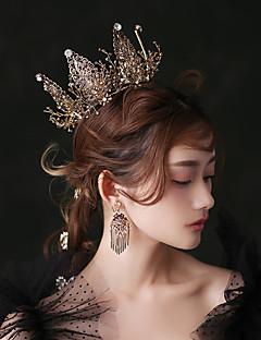 billiga Lolitaaccessoarer-Svart svan Dam Flickor Vintage Gotisk Lolita Barock Elegant Ringformade Örhängen Tiaror panna Crown Till Maskerad Bal Bröllopsfest Svart Kristall 1 Par Örhängen Krona Tiaror Kostymsmycken