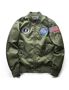 cheap Men's Jackets & Coats-Men's Daily Basic Fall / Winter Regular Jacket, Geometic Round Neck Long Sleeve Polyester Blue / Black / Army Green XL / XXL / XXXL / Loose
