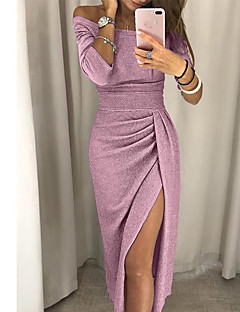 cheap Holiday Party-Women's Party Evening / Daily Elegant Slim Bodycon Dress - Solid Colored Split Off Shoulder Red Light gray Champagne XL XXL XXXL