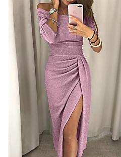 Χαμηλού Κόστους Φορέματα NYE-Γυναικεία Κομψό Λεπτό Εφαρμοστό Φόρεμα - Μονόχρωμο, Σκίσιμο Μίντι Ώμοι Έξω