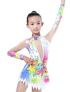 Χαμηλού Κόστους Άσκηση, γυμναστική και γιόγκα-Ρυθμική Γυμναστική Κοστούμια / Καλλιτεχνική Γυμναστική Κοστούμια Γυναικεία / Κοριτσίστικα Φορμάκι Ιβουάρ Υψηλή Ελαστικότητα Ανταγωνισμός Χειροποίητο Εμφάνιση Διαμαντιού / Σκίαση Μακρυμάνικο
