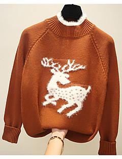 baratos Suéteres de Mulher-Mulheres Básico Pulôver - Sólido / Animal