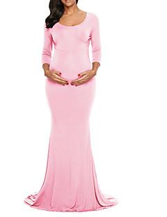 baratos Vestidos-Mulheres Básico Bainha Vestido Sólido Longo