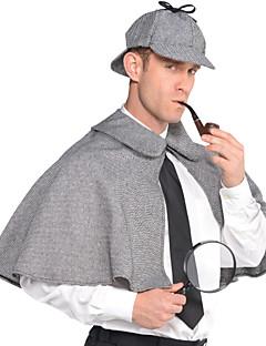 tanie Kostiumy filmowe i telewizyjne-Sherlock Holmes Płaszcz Kostiumy z filmów Szary Płaszcz Kapelusz Święta Halloween Nowy Rok Poliester