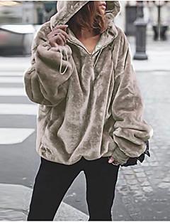 tanie Swetry damskie-Damskie Codzienny Moda miejska Solidne kolory Długi rękaw Regularny Pulower, Kaptur Żółty / Wino / Jasnobrązowy M / L / XL