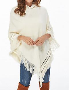 tanie Swetry damskie-Damskie Codzienny Podstawowy Solidne kolory Długi rękaw Regularny Peleryny, Kaptur Jesień Biały / Czarny Jeden rozmiar