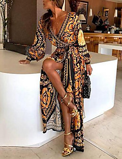 cheap Holiday Party-Women's Party / Party Evening / Daily Party / Evening / Party / Sexy Maxi T Shirt Dress - Floral / Floral Print Deep V Cotton Orange M L XL / Beach