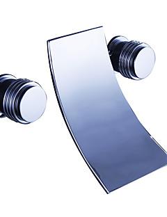 billige Foss-Badekarskran - Moderne Krom Vægmonteret Keramisk Ventil Bath Shower Mixer Taps / Messing / To Håndtak tre hull