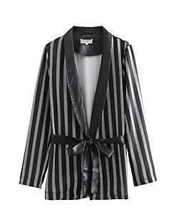 billige Ytterklær til damer-Dame Daglig Grunnleggende Normal drakter, Stripet V-hals Langermet Polyester Svart S / M / L