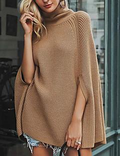 tanie Swetry damskie-Damskie Codzienny Podstawowy Rozcięcie Solidne kolory Długi rękaw Regularny Pulower, Golf Jesień Czarny / Żółtobrązowy M / L / XL