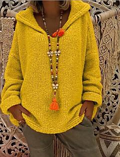 baratos Suéteres de Mulher-Mulheres Diário Casual Oversize Sólido Manga Longa Solto Padrão Pulôver, Com Capuz Rosa / Amarelo / Cinza Claro M / L / XL