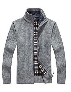 tanie Męskie swetry i swetry rozpinane-Męskie Codzienny Podstawowy Solidne kolory Długi rękaw Regularny Sweter rozpinany, Golf Jesień Wino / Jasnobrązowy / Jasnoszary XL / XXL / XXXL
