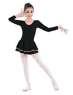 baratos Roupas de Dança Latina-Dança Latina Vestidos Para Meninas Treino / Espetáculo Elastano / Lycra Caixilhos / Fitas Manga Longa Vestido