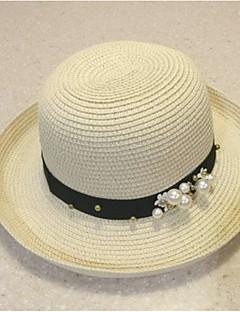 billige Hatter til damer-Dame Vintage Stråhatt Ensfarget