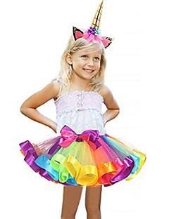 billige Barnekostymer-Karneval Kostume Jente Barne Voksne Halloween Halloween Karneval Maskerade Festival / høytid Tyll Polyester Drakter Blå / Rosa / Lilla Blå Regnbue