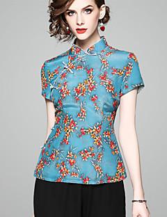 billige T-shirt-Høj krave Tynd Dame - Geometrisk Basale T-shirt