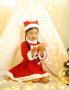 billige julen Kostymer-Julkjole Santa Clothe Jente Barn Jul Jul Festival / høytid Plysj-stoff Drakter Lys Rød Jul