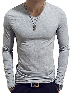 cheap Men's Tees & Tank Tops-Men's Basic Cotton Slim T-shirt - Solid Colored V Neck / Long Sleeve / Spring / Fall