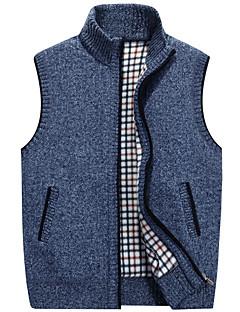 cheap Men's Clothing-Men's Daily Basic Solid Colored Sleeveless Regular Vest, Stand Fall Dark Gray / Khaki / Light gray XL / XXL / XXXL