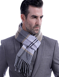 cheap Men's Scarves-Men's Work / Basic Rectangle Scarf - Striped / Color Block Pleated / Fall / Winter