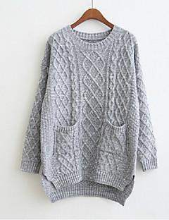 tanie Swetry damskie-Damskie Codzienny Moda miejska Solidne kolory Długi rękaw Luźna Długie Pulower, Okrągły dekolt Szary Jeden rozmiar