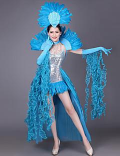 billige Halloween- og karnevalkostymer-Spansk Lady Kostume Dame Voksne Flamenco Halloween Karneval Maskerade Festival / høytid Palliet Kunstige Edelstener Drakter Grønn / Blå / Rosa Fjær
