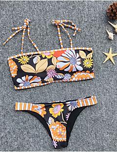 billige Bikinier og damemote 2017-Dame Grunnleggende Regnbue G-streng Bikinikjole Badetøy - Geometrisk S M L