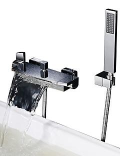 billige Sidesray-Dusjkran / Badekarskran - Moderne Krom Badekar Og Dusj Keramisk Ventil Bath Shower Mixer Taps / To Håndtak to hull