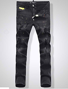 billige Herrebukser og -shorts-menns bomulls slanke jeansbukser - solidfarget