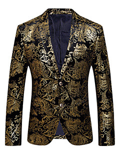cheap Men's Blazers & Suits-Men's Party / Daily / Club Sophisticated / Exaggerated Spring / Fall Regular Blazer, Floral V Neck Long Sleeve Cotton / Polyester Print Gold / Silver XL / XXL / XXXL / Slim